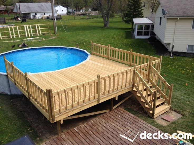 Pool deck pressure treated pine wood rail for Above ground pool decks nj