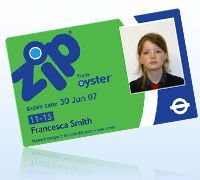 11 - 15 year-olds Oyster card - for free travel on buses, trams , child fare on tube, DLR, London O-grd. 10 pound.