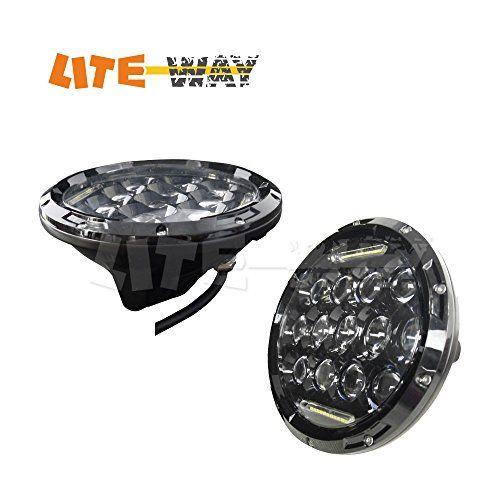LITE-WAY 7 inch Philip Led Headlight Bulbs Hi Low Beam H4 H13 for Jeep Wrangler JK FJ TJ Hummer Harley (LH-75WDRL-B)