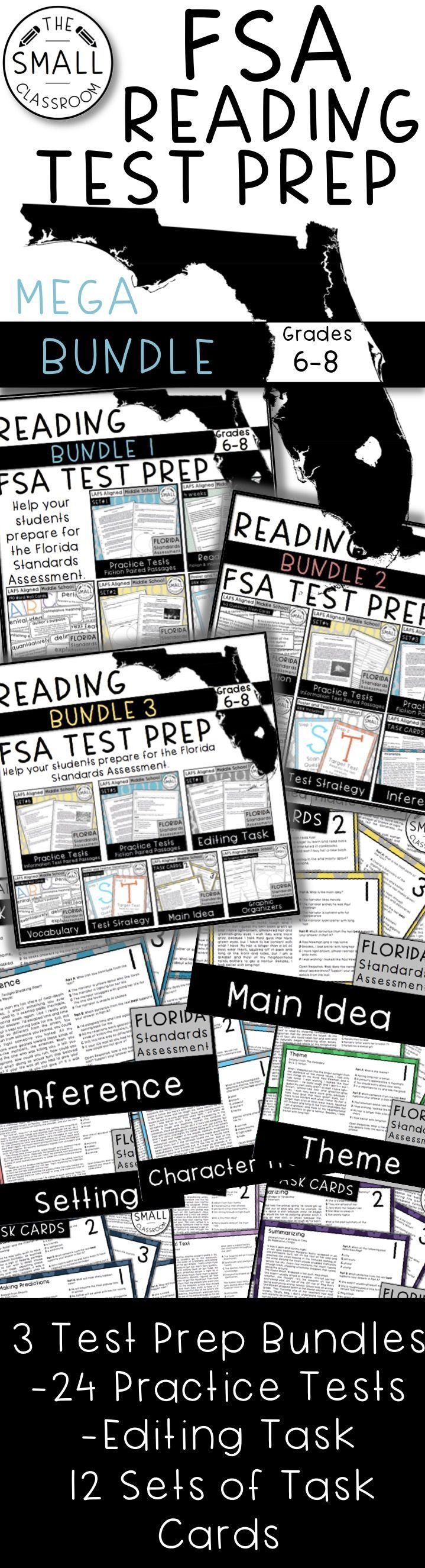 FSA TEST PREP Bundle. 24 Practice Tests. Paired Passages. Editing Task. Reading Review. Word Wall Vocabulary.  12 Sets of Task Cards. Inference, Main Idea, Summary, Theme, and more. Everything you need to prepare of the FSA. (Florida Standards Assessment)