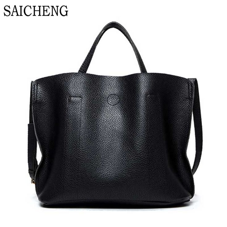 SAICHENG Brand Designer Handbags High Quality Women Bag Ladies Leather Hand Bags Simple Bucket Shoulder Sac With Short Handle