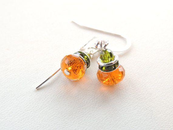 Swarovski Crystal Pumpkin Earrings Fall by PNLJewelryDesigns, $16.00