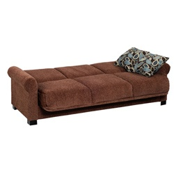 @Overstock - Comfortable and stylish, the transitional Rio Convert-a-Couch futon sofa features rolled arms and converts into a full size bed with the touch of a hand. The futon sofa is covered in a durable chenille fabric and works well in any decor. http://www.overstock.com/Home-Garden/Rio-Convert-a-Couch-Brown-Chenille-Rolled-Arm-Futon-Sofa-Sleeper/5665073/product.html?CID=214117 $413.99