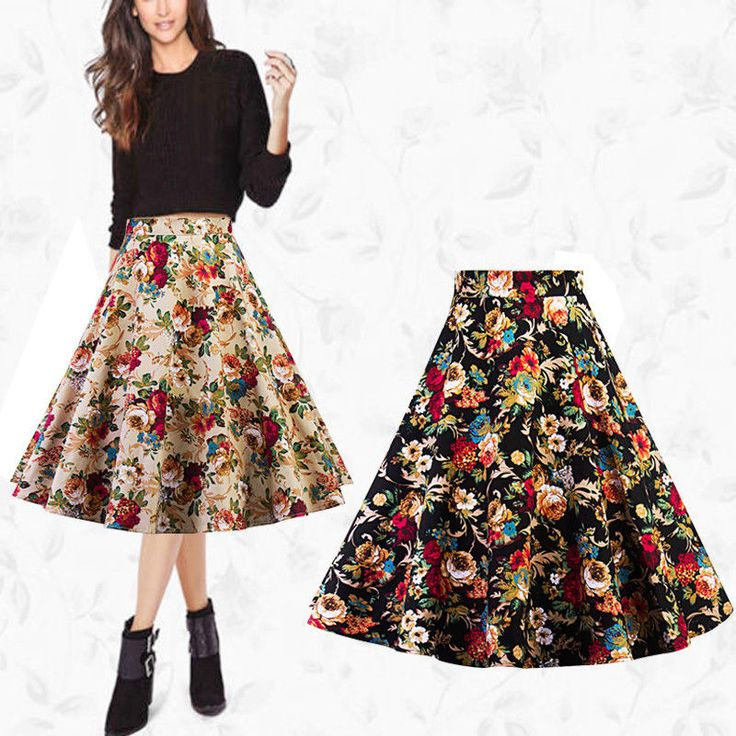 Women's High Waist Pleated Retro Floral Party A-Line Midi Skater Skirt Dress Hot #Unbranded #Aline #Party