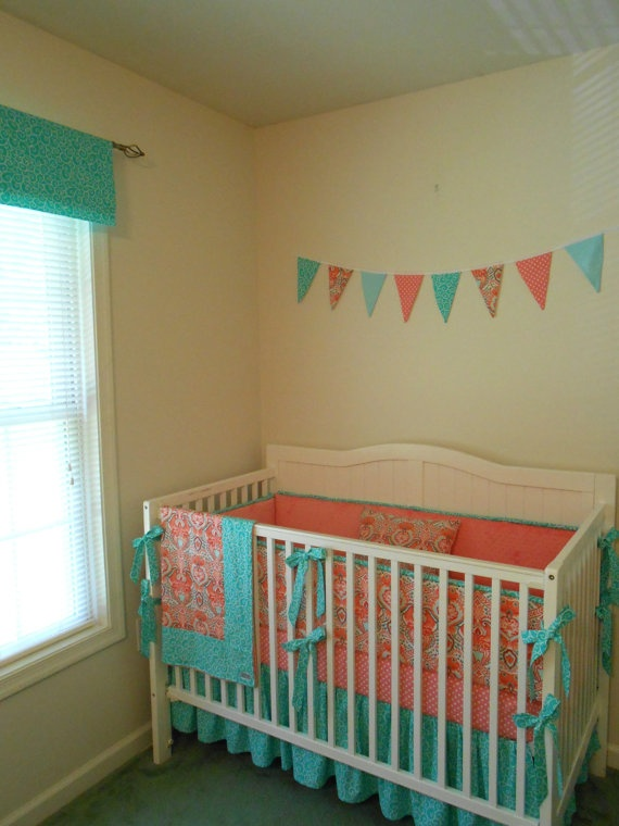 Coral And Turquoise Banner Above Crib Baby Girl Bedding