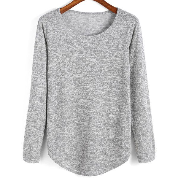 SheIn(sheinside) Grey Round Neck Curved Hem T-Shirt (£8.54) ❤ liked on Polyvore featuring tops, t-shirts, shirts, jumper, sweaters, grey, long sleeve tops, stretch t shirt, curved hem tee and grey long sleeve shirt