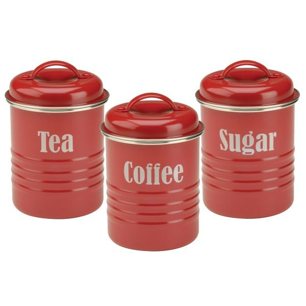 Tea Coffee Sugar Kitchen Canister Set Red