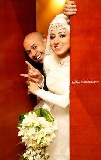 Muslim bride in hijab and her groom Perfect Muslim Wedding
