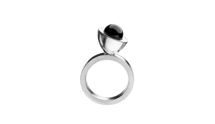 "Ritva Liisa Pohjalainen, ""Sole"" ring in sterling silver and onyx. #Finland"