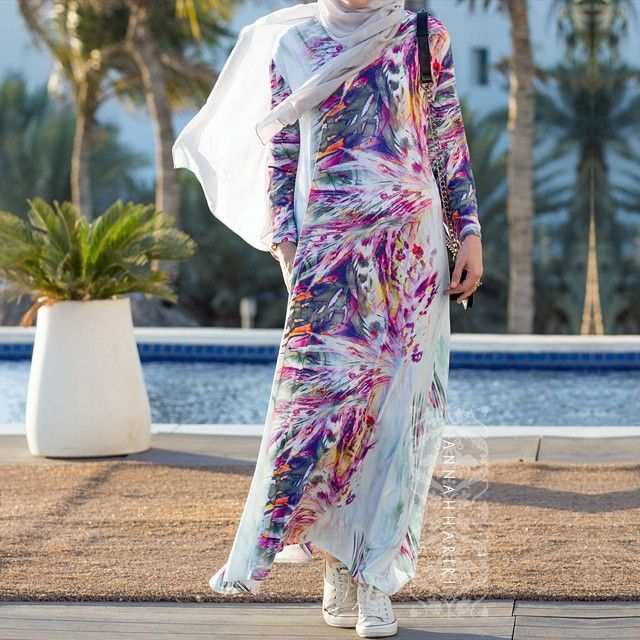 Jersey colorful abaya with sport shoes  So-o-o-o-o comfortable and natural viscose fabric is great for summer.