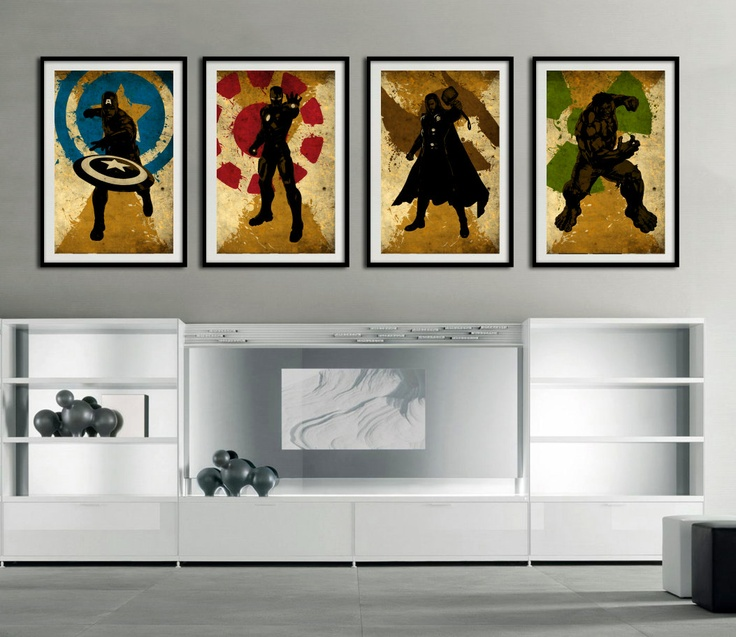 "Avengers The 4 super hero  - Captain america, Hulk, Ironman, Thor - minimalist art movie poster prints 4 x 11""x17"". $50.00, via Etsy."