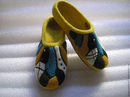 """Обувь ручной работы. Ярмарка Мастеров - ручная работа. Купить Тапочки """"Жара в мегаполисе"""". Handmade. Домашние тапочки"""