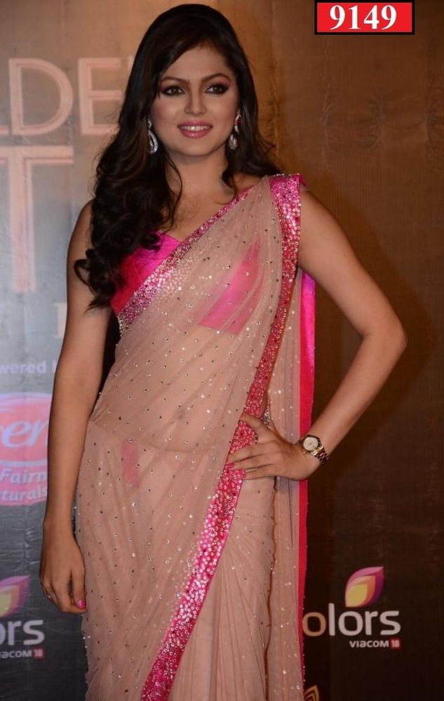 SareeStudio Beige Sequins Stone Work Party Wear Net Bollywood Sari #SareeStudio #BollywoodDesignerSareeSari #PartyWear