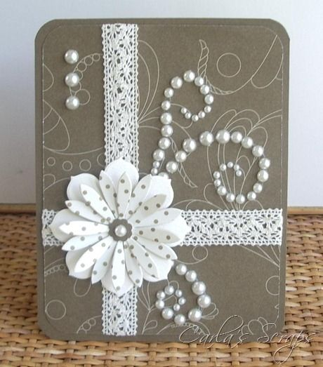 pretty card with layered flower using polka dot paper for top die cut...