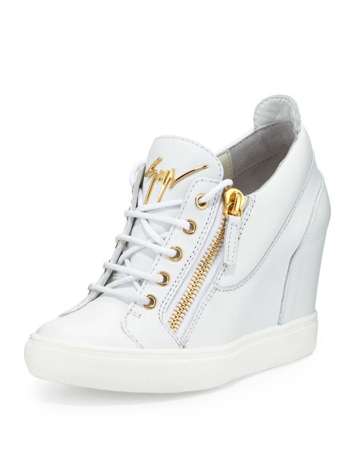 Lorenz Zip-Front Wedge Sneaker, White, Women's, Size: 37.5B/7.5B - Giuseppe Zanotti