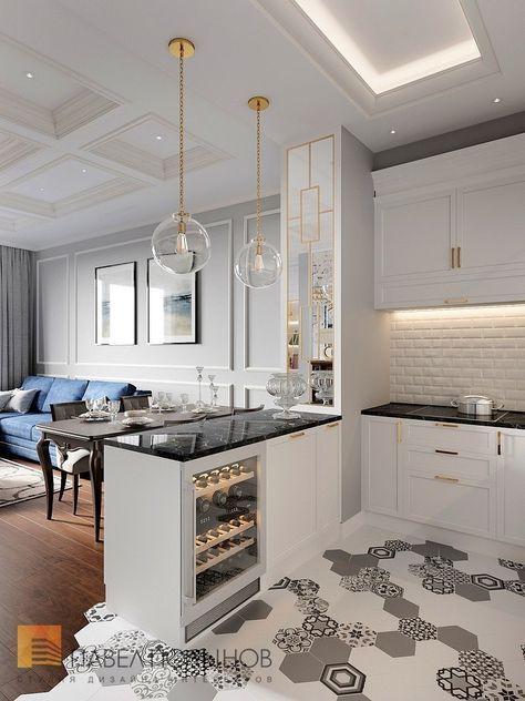Фото дизайн кухни из проекта «Интерьер трехкомнатной квартиры 96 кв.м. в ЖК «Привилегия», стиль нео-классика»