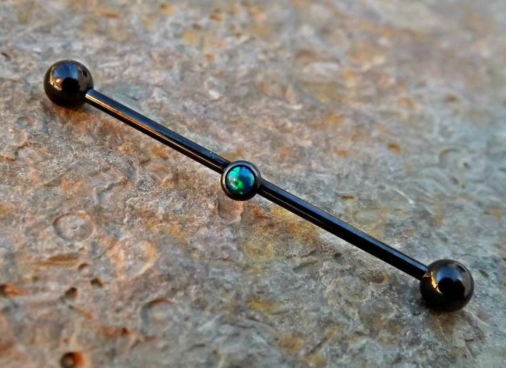 Opal Industrial Barbell Dark Green 14ga Upper Ear Piercing Body Jewelry Earring Black Barbell