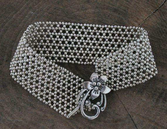 Silver tone bracelet, tiny bead Bracelet, Beaded bracelet, metal BEAD bracelet, BEADED cuff, boho bracelet Beadwork flower Bracelet,
