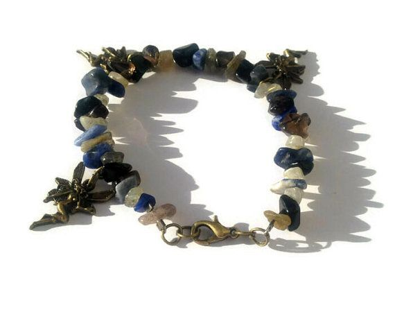 Bronze Faerie Charm Bracelet with Sodalite by FaithlisCreations, $13.50