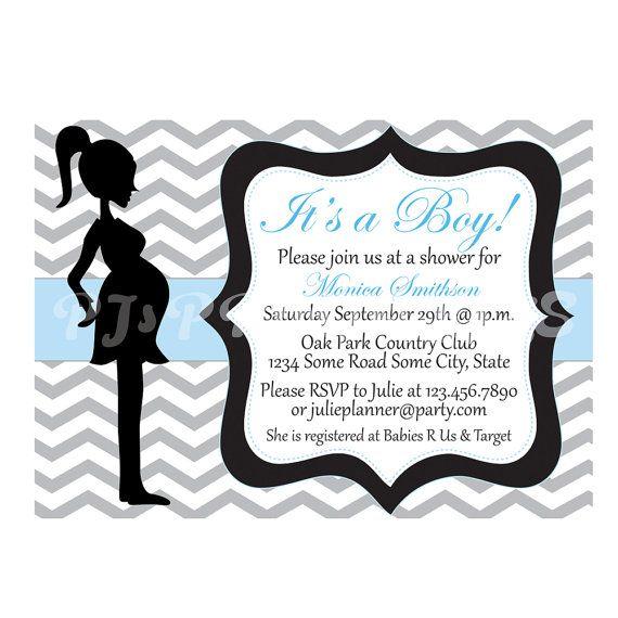Blue Chevron Baby Boy Shower Invitation Custom by PJsPrintables, $9.00