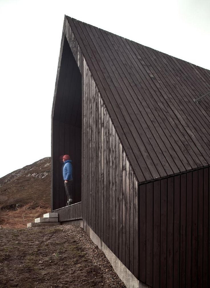 Black TImber Clad Exterior of House at Camusdarach Sands by RAW