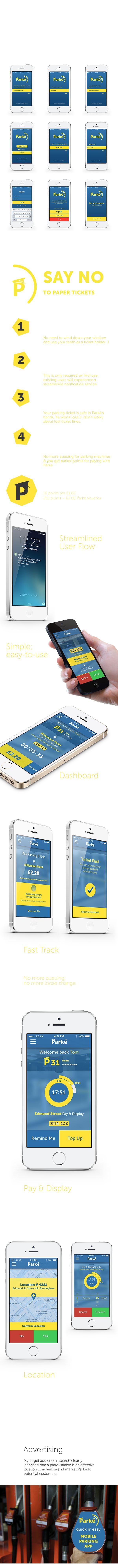 Parké | Mobile Parking iOS App by Ollie Cox, via Behance