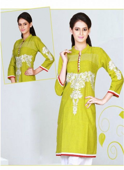 Amazing Pear green cotton #kurti with stripes work