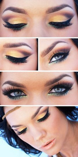 Yellow Smokey with Green glitter under eye. Linda Hallberg - incredible makeup artist from her daily makeup blog   inspiration for an upcoming project on www.adagio-images... or www.facebook.com/...   #makeup #makeupinspiration