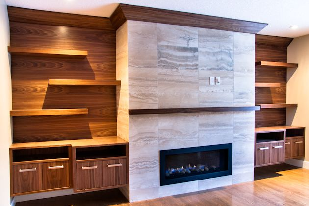 Premise Design Family Room Fireplace And Built In Walnut Cabinets With Travertine Fireplace