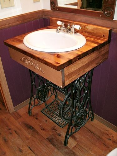 3 Ways to Repurpose An Antique Sewing Machine Base -If I ever find one that isn't all in one piece still, (I could never take one apart! Sacrilege!!!) I would be happy to make it part of our home somehow!