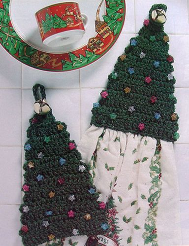 Christmas Tree Kitchen Towel Topper ~ CROCHET PATTERN ONLY ~ Holiday