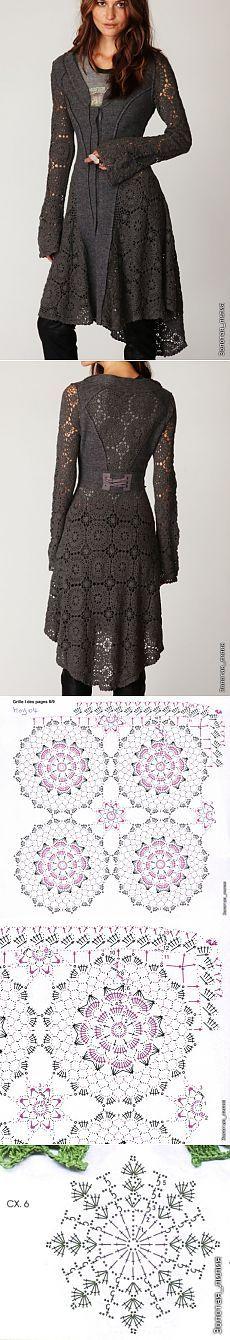 Пальто ткань и крючок с вариантами схем.