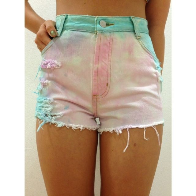 Image of Cotton Candy High Waisted Denim Shorts