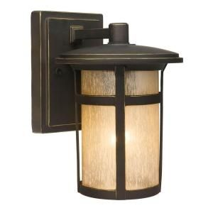 Hampton Bay Round Craftsman Wall-Mount 1-Light Outdoor Dark Rubbed Bronze Lantern-23031 at The Home Depot