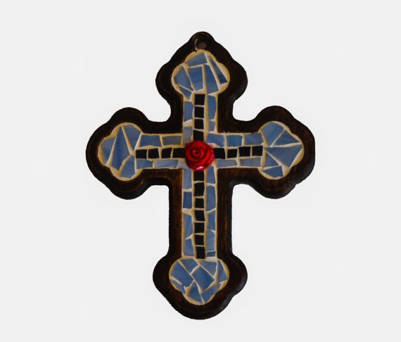 Blue mosaic cross  with red flower rose at the center by Psifida