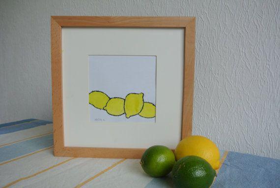 Monotype 'Citroenen' - zomers kunstwerk, gele citroentjes, inclusief passe-partout en lijst