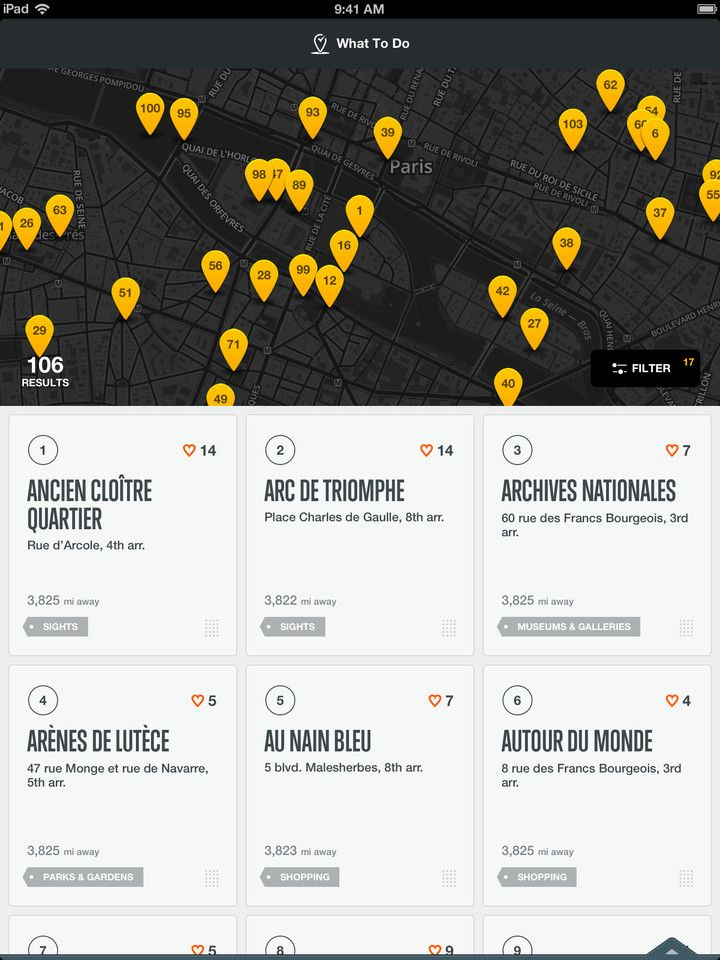 City Guides by National Geographic. iPad. What-to-do screen