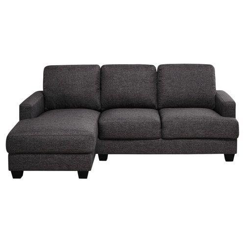 Philadelphie - Canapé d'angle gauche 3/4 places en tissu gris chiné