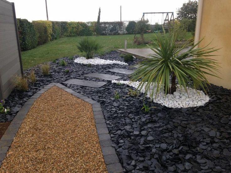ide de jardin paysager avec alle de dalles grises et palme - Jardin Paysager Avec Galets