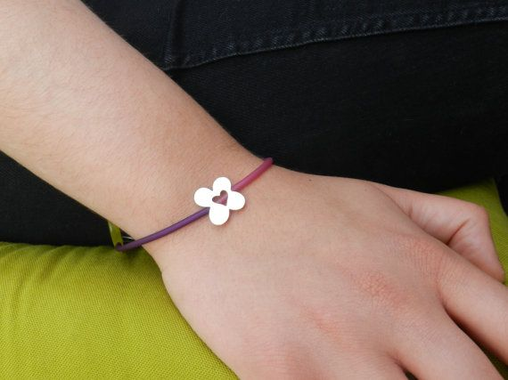Silver flower bracelet heart coral silver rubber: Everyday gift, love gift!