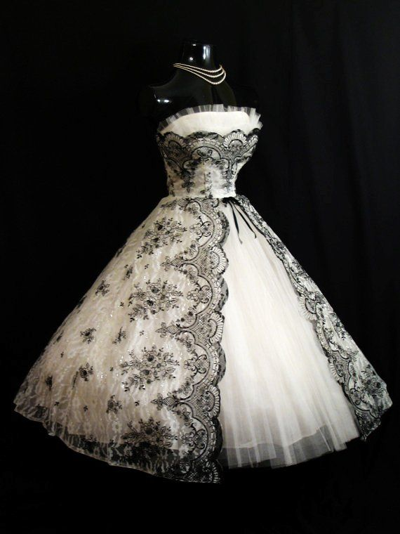 Vintage 1950's 50s Bombshell STRAPLESS Black White Metallic Floral Flocked Tulle Party Prom Wedding DRESS