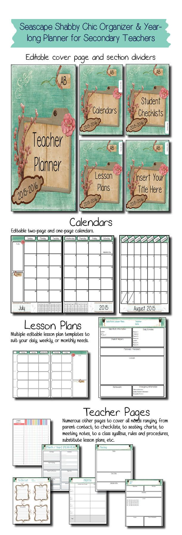 This stunning seascape shabby chic classroom organizer is just what secondary teachers need to get prepared in style for the new school year!  I have taught middle school for 15 years and I included the templates for every resource I have found I cannot live without and eliminated all of the excess that looks pretty in other organizers but never gets filled out or updated past the third week of school.  This product is EDITABLE in the form of PowerPoint so you can customize your pages!