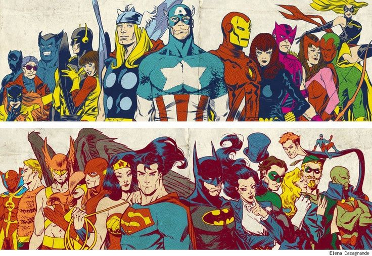 Silver Age Avengers and Justice League by Elena Casagrande