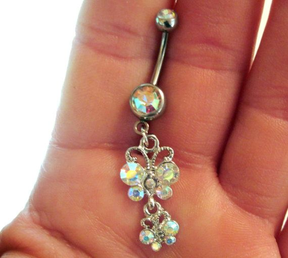 Belly Button Ring Navel Ring Aurora Borealis Crystal Butterfly
