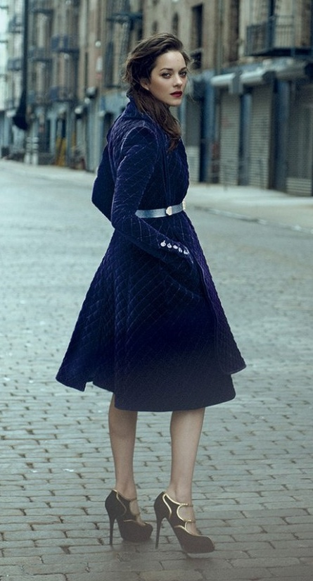 Marion Cotillard in a Burberry Prorsum quilted velvet coat and Ralph Lauren heels. Photo by Peter Lindbergh for Vogue Aug 2012.