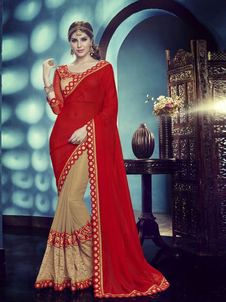 Good-Looking Red Georgette Designer saree