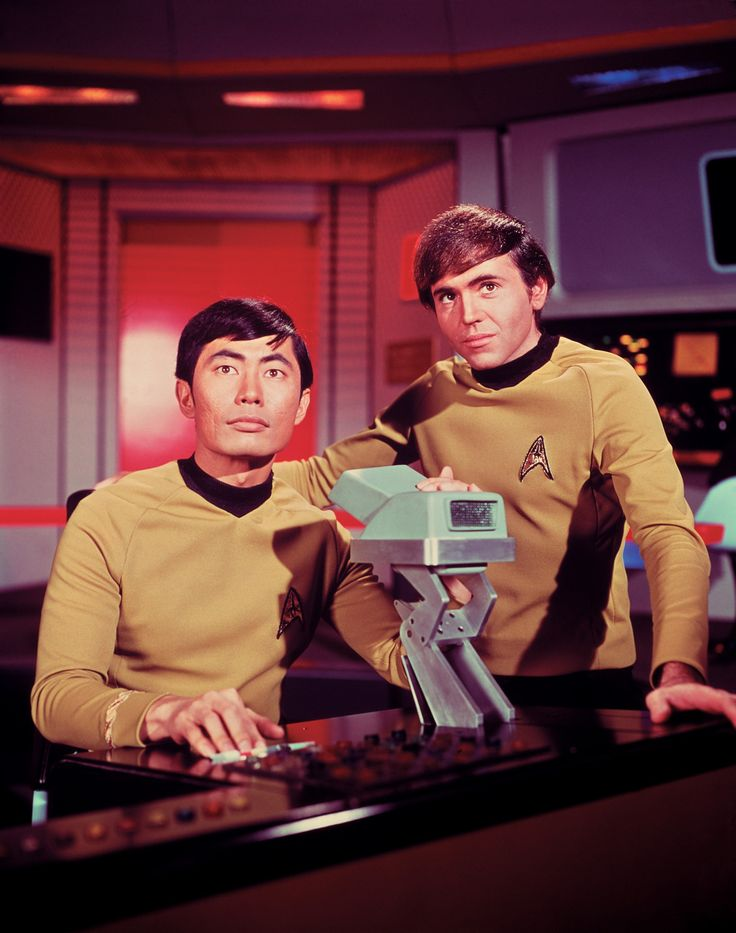 George Takei as Hikaru Sulu and Walter Koening as Pavel Chekov, Star Trek, 1966