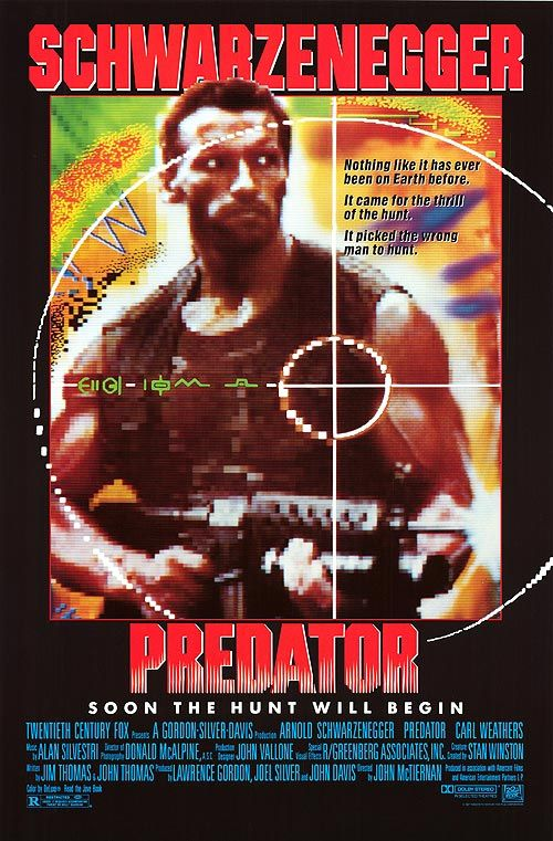 Predator (1987) - A team of commandos on a mission in a Central American jungle find themselves hunted by an extra-terrestrial warrior. In my opinion this is the king of Arnold movies, Star studded cast and high tech special effects of its day equal one of the best sci-fi action movies of all time.. ...