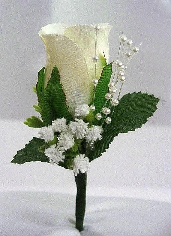 Ivory Boutonniere Rose Corsage Groom Wedding Mens Flower Prom White Silk Decorations