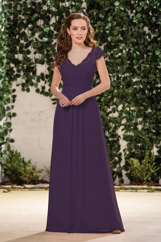 f08a3532f74e2 B183059 Long Sweetheart Neckline Poly Chiffon Bridesmaid Dress with Lace Top